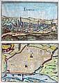 Lot de deux GRAVURES rehaussées à l'aquarelle, Panorama d'Evreux et plan de Rouen. XVIIIe.