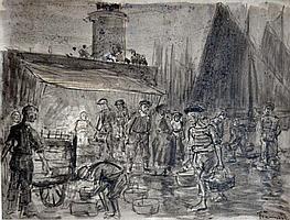 """Fine 25 X 35/"""" Paris 1904 by Pierre-Georges Jeanniot Le Diner a L/'Hôtel Ritz"""