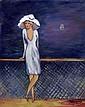 Dzuba Elena - Voilier solitaire - 41x33 - Huile sur toile.