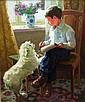 Balakchine Eugene - Leçon d'aquarelle - 65x54 - Huile sur toile.
