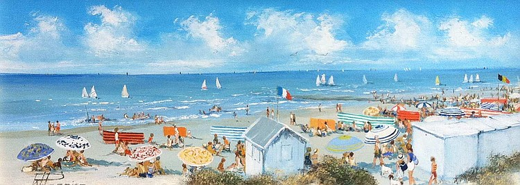 Willy PANNIER. Un weekend à la plage. Huile sur pa