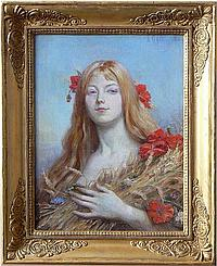 Paul Dominique Philippoteaux (1846-1923) L'été. Huile sur toile signée en haut à