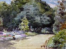 François DURANTI (Naples 1857 - ? après 1900). Femme dans un parc. Aquarelle sig