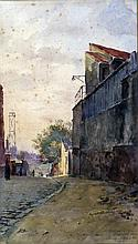 François DURANTI (Naples 1857 - ? après 1900). Ruelle animée. Aquarelle signée à