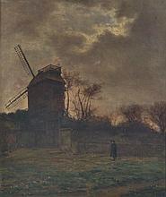 François DURANTI (Naples 1857 - ? après 1900). Moulin à Montmartre. Huile sur to