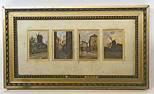 François DURANTI (Naples 1857 - ? après 1900). Quatre vues de Montmartre. Quatre