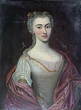 Ecole du XVIIIe. Portrait de dame de qualité. Huile sur toile. 75 x 57 cm.