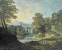 Ecole XIXe. Paysage à la cascade animé de personnages. Huile sur toile signée en
