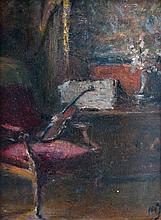 Ecole française XIXe Coin d'appartement au violon. Huile sur panneau monogrammé