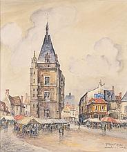 FRANK-WILL (1900-1951)Marchéà Dreux. Aquarelle sur traits de crayon signée et s