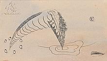 Henri GOETZ (1909-1989). Composition surréaliste, 1941. Encre de Chine signée et