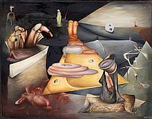 Henri GOETZ (1909-1989). Composition surréaliste, 1940-45. Huile sur papier maro