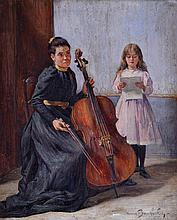 Marius BARTHALOT (1861-?) La leçon de violoncelle. Huile sur panneau signé en ba