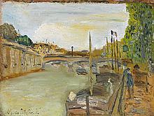 Maurice UTRILLO (1883-1955). Le pont Saint Michel, circa 1905. Huile sur panneau