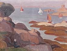 Jules ZINGG (1882-1942). La mer à Trégastel. Toile signée en bas à gauche, situé