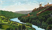 Maurice GRIMALDI dit GRIM (1890-1968) Le moulin à vent. Huile sur toile marouflé