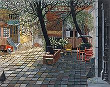 Gertrude O'BRADY (1901-1985). Cour intérieure, 1948. Huile sur carton signée en