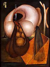 Henri GOETZ (1909-1989). Composition, 1942-43. Huile sur panneau, porte une indi