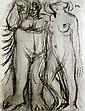 Fikret MOUALLA (1903-1967) Adam et Eve. Fusain signée en bas à gauche, monogramm