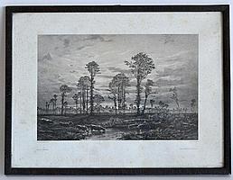 Auguste ANASTASI (1820-1889) (d'après). Vaches à l'étang. Lithographie.