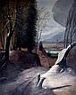 Ecole naïve, H. FOURNIER, XIXe-XXe. Le cheminot. Huile sur toile signée en bas à