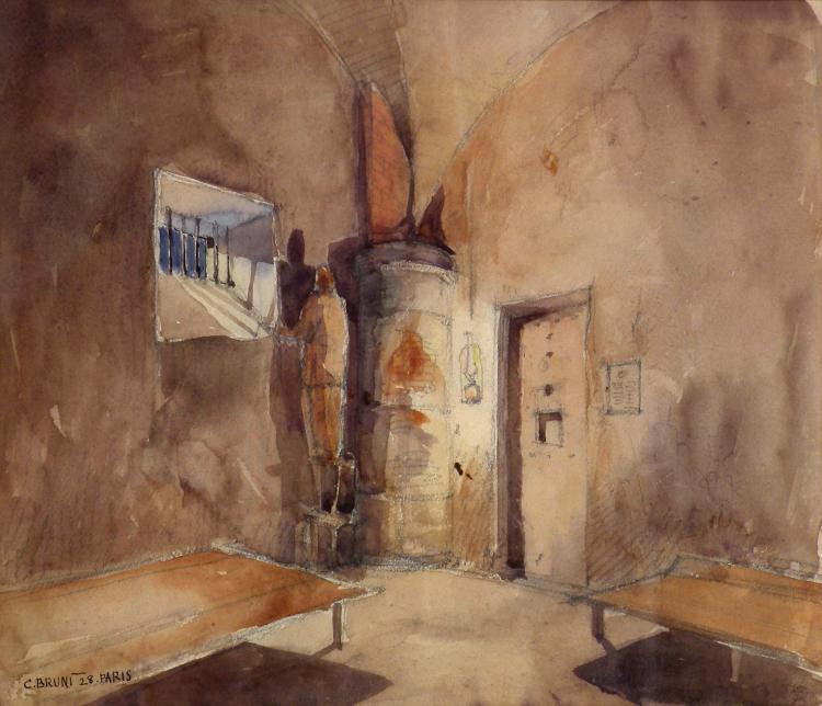 Constantin BRUNI (1900-1969) Prison,1928. Aquarelle sur papier, signé en bas à g