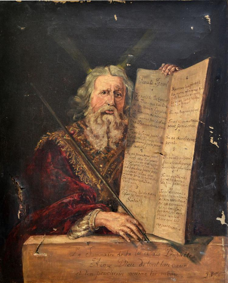 J. BINE, XIXe-XXe. Moïse présentant les tables de la Loi. Huile sur toile signée
