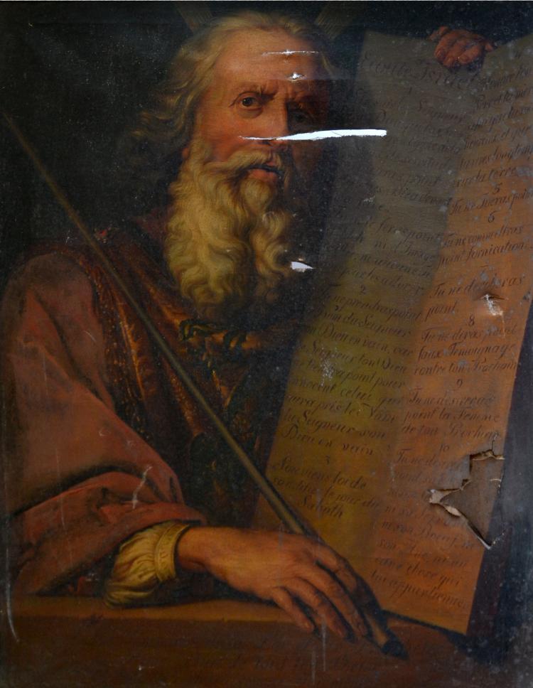 J. BINE, XIXe-XXe. (Attribué à). Moïse présentant les tables de la Loi. Huile su