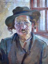Lucretia MIHAIL SILION (1895-?) Portrait d'homme juif. Huile sur toile signée Lu