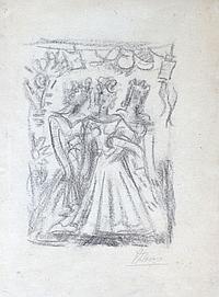 Pedro FLORES (1897-1967) Trois femmes. Crayon noir signé en bas à droite. 24 x 1