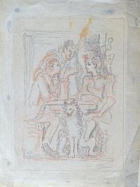 Pedro FLORES (1897-1967) Trois personnages attablés et chien. Crayon noir et rou