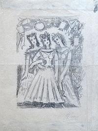 Pedro FLORES (1897-1967) Trois femmes. Crayon noir signé en bas à droite sur pap