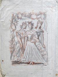Pedro FLORES (1897-1967) Trois femmes. Crayon noir et rouge signé en bas à droit