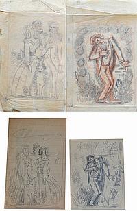 Pedro FLORES (1897-1967) Trois femmes, homme blessé. Lot de quatre dessins, au c