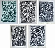 Pedro FLORES (1897-1967) Trois femmes, homme blessé, couples au chien. Lot de li