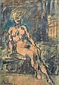 Léon BONHOMME (1870-1924) Nu assis. Fusain, lavis d'encre et aquarelle signé et