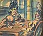 Léon BONHOMME (1870-1924) femmes au café. Fusain, lavis d'encre et aquarelle sig