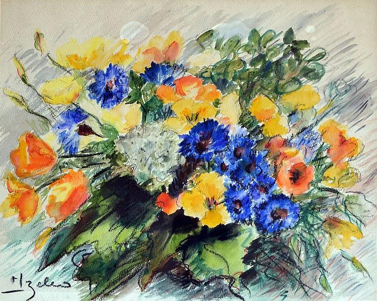 Izello bouquet de bleuets et fleurs des champs aquarel - Bouquet de fleurs des champs ...