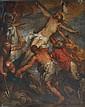 Ecole du XVIIIe, D'après RUBENS,. Descente de croix. Huile sur toile (rentoilag