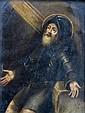 Ecole XVIIe. Saint homme en armure. Huile sur cuivre. 19 x 14,5 cm