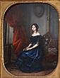 Ecole française vers 1830-40. Portrait de jeune femme assise. Huile sur toile. C