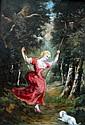 Marie Abrahams ROSALBIN DE BUNCEY (1852-1876) Femme à l'escarpolette et son chie