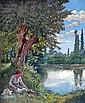 A. BAUVALON, début XXe. Femme assise au bord de l'eau, 1911. Huile sur toile sig