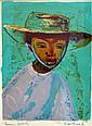 Christian CAILLARD (1899-1985). Garçonnet au chapeau. Lithographie en couleurs