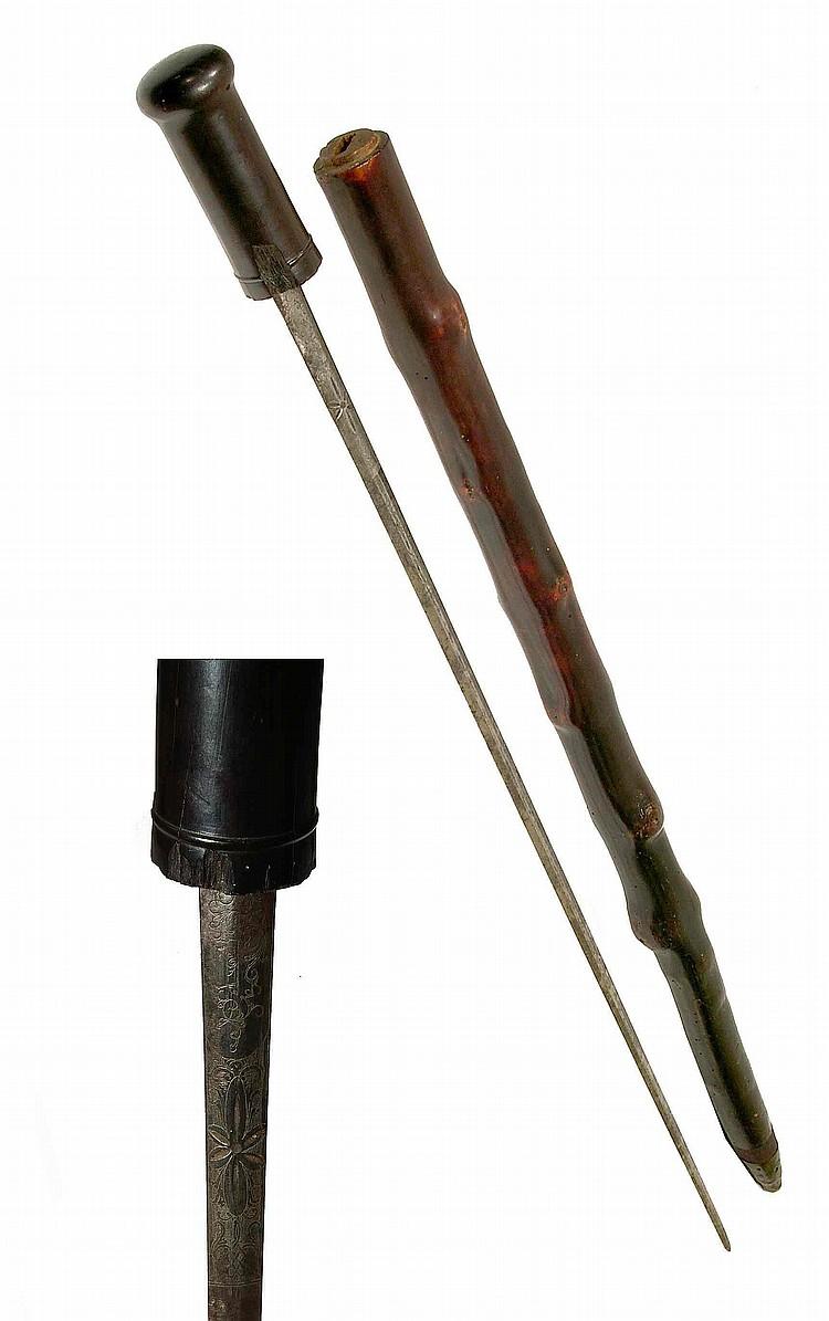 Canne épée de demi-solde (ancien soldat des armées napoléoniennes) simulant un g
