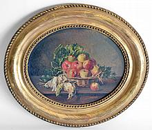A. SICARD, XIXe XXe. Naturel morte au pommes et oiseaux. Huile sur carton à vue