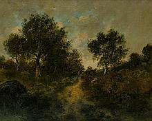 Ecole française du XIXème. Promeneuse sur le chemin, Huile sur toile 45x50 (acci