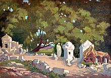 Ecole orientaliste fin XIXe début XXe. Homme se recueillant sur une tombe. Huile