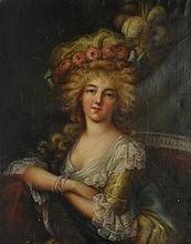 Ecole française du XIXème dans le goût XVIIIème. Elégante au chapeau à plumes. H