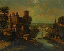 Ecole du XIXe. Paysage animé au chateau fort. Huile sur toile. (Accidents et res